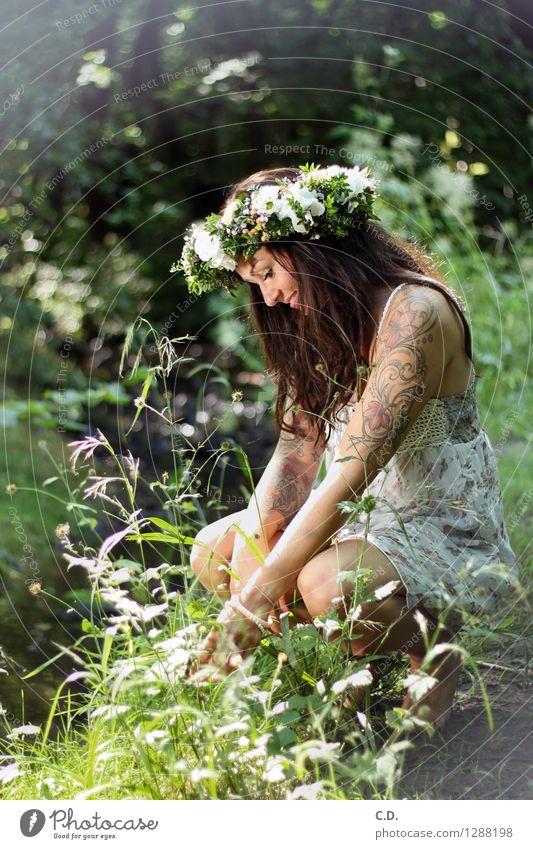 Waldfee Junge Frau Jugendliche 18-30 Jahre Erwachsene Umwelt Natur Gras Sträucher Kleid brünett langhaarig Freundlichkeit Fröhlichkeit schön positiv dünn grün