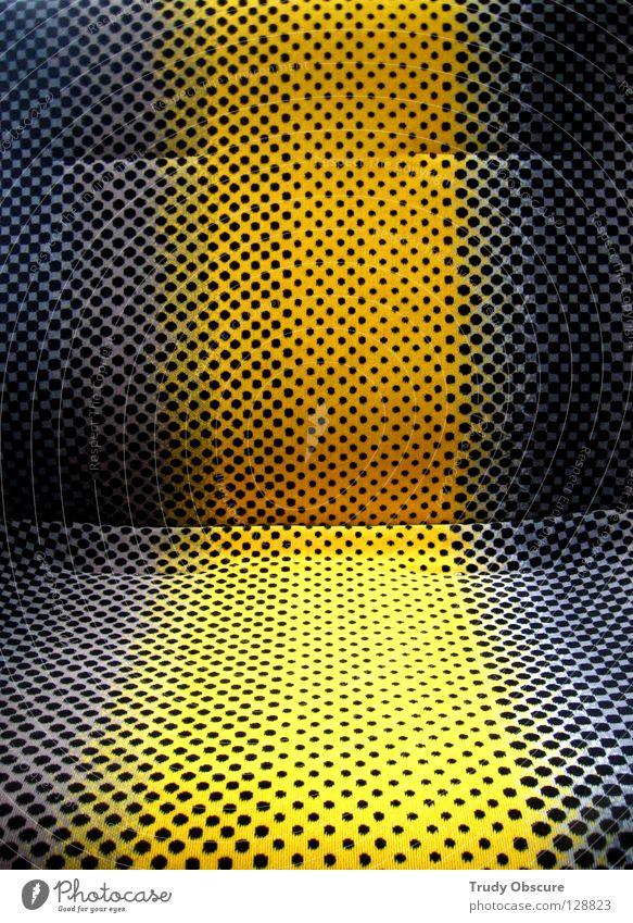 take you on a cruise II schwarz gelb grau Verkehr Eisenbahn Platz Stuhl Stoff Langeweile Sitzgelegenheit Siebziger Jahre Motivation Straßenbahn Originalität Öffentlicher Personennahverkehr S-Bahn