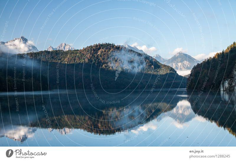 Irritation Himmel Natur Ferien & Urlaub & Reisen blau Sommer Landschaft ruhig Wald Berge u. Gebirge Herbst See Felsen träumen Zufriedenheit Nebel Ausflug