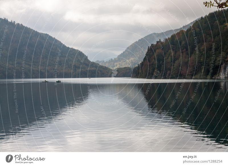 Herbstwetter Himmel Natur Ferien & Urlaub & Reisen Landschaft ruhig Wolken dunkel Wald schwarz Berge u. Gebirge grau See Freizeit & Hobby Tourismus Wetter