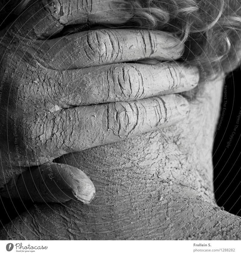 Haut und Haar 2 maskulin Mann Erwachsene Männlicher Senior Kopf Haare & Frisuren Hand Finger Hals Nacken Hautfalten 1 Mensch 45-60 Jahre grauhaarig Locken Linie