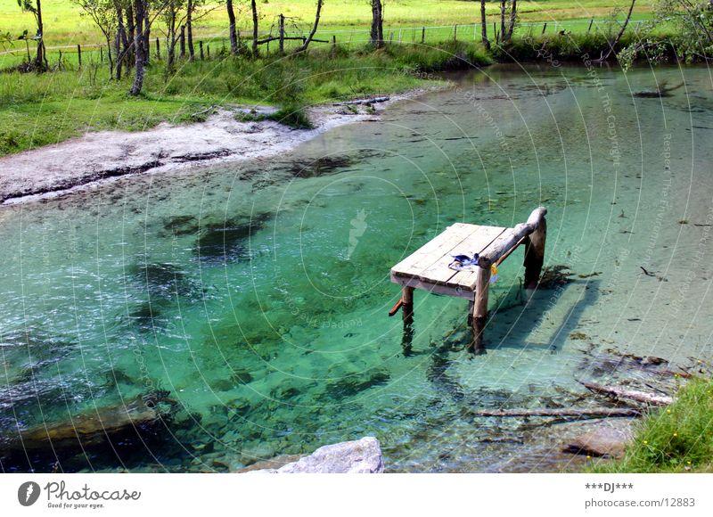 Wasserliege See grün Gras Holz Erholung Ferien & Urlaub & Reisen Fluss Bank Berge u. Gebirge Stein liegen