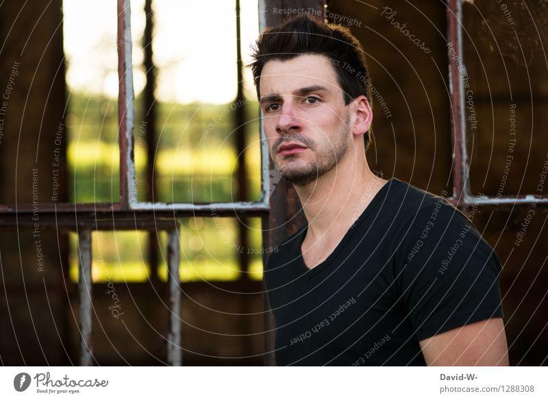 --|-|-- Lifestyle Sinnesorgane ruhig Mensch maskulin Junger Mann Jugendliche Erwachsene Leben 1 T-Shirt schwarzhaarig brünett Dreitagebart beobachten Denken