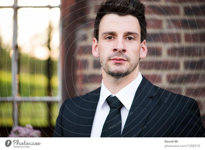 seriös Design schön Bildung Business Karriere Erfolg Mensch maskulin Junger Mann Jugendliche Erwachsene Leben Kopf 1 18-30 Jahre Mode Anzug Krawatte brünett