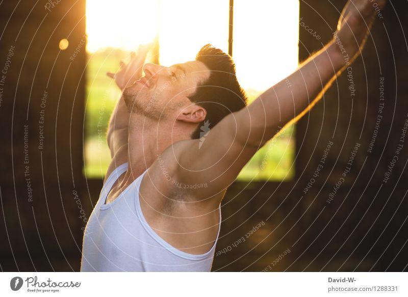 . Mensch Jugendliche Mann Junger Mann 18-30 Jahre Erwachsene Leben Gefühle Gesundheit Lifestyle Stimmung maskulin Zufriedenheit Kraft Körper Energie
