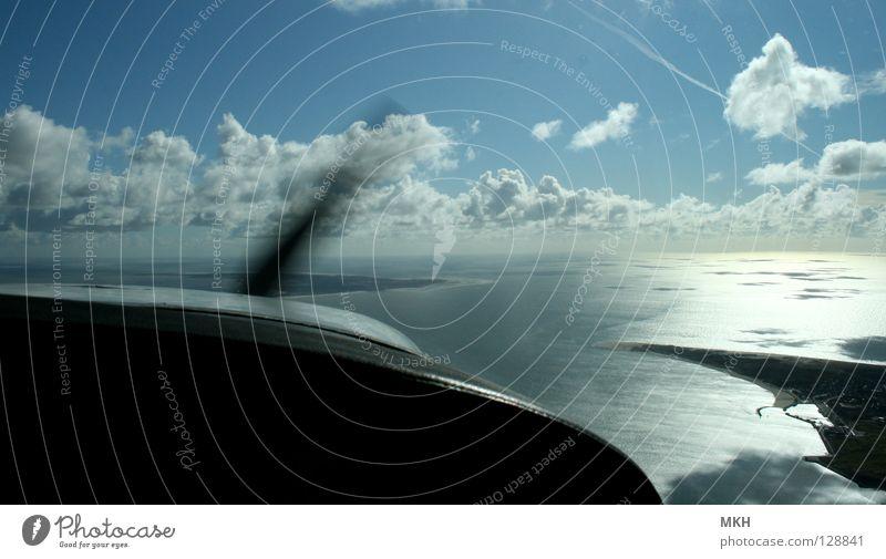 grenzenlos? Wasser Himmel Meer blau Strand schwarz Wolken Freiheit See Sand Wellen Küste glänzend Flugzeug fliegen Horizont