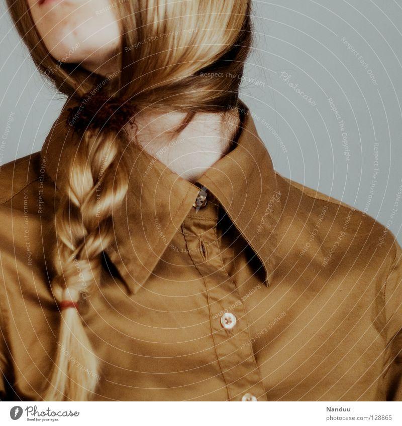 serz treut Haare & Frisuren ruhig Arbeit & Erwerbstätigkeit Frau Erwachsene Bart Hemd Krawatte Maske Zopf Denken Traurigkeit außergewöhnlich lustig neu Trauer