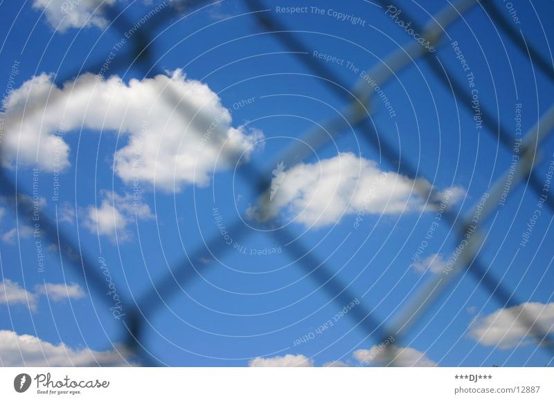 Freiheit? Wolken Zaun Gitter Grenze Schlaufe Draht Himmel Sonne Wetter