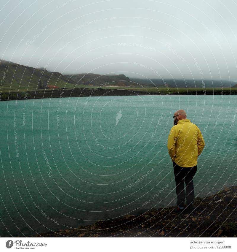 gelb grün grau Mensch maskulin Erwachsene Körper Kopf 1 30-45 Jahre Umwelt Natur Landschaft Urelemente Erde Luft Wasser Herbst Klima schlechtes Wetter Unwetter