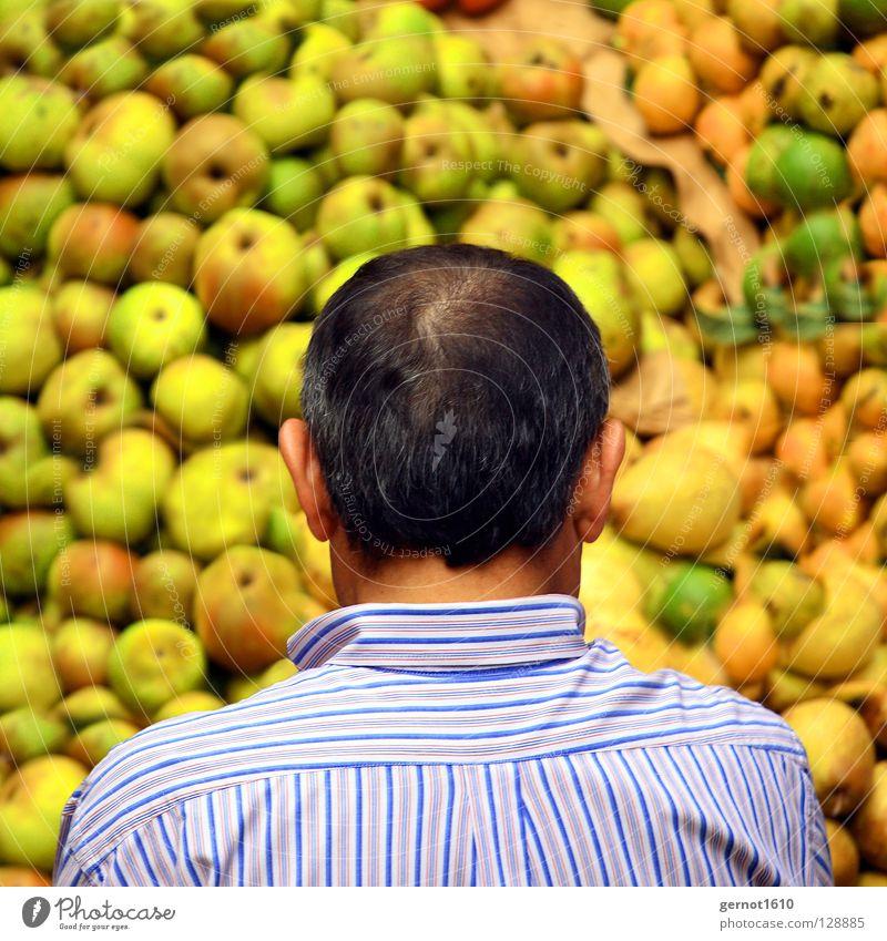 Was nehm ich nur? Mann blau grün schwarz gelb Gesundheit braun Frucht mehrere kaufen viele Suche Apfel Landwirtschaft Hemd Produkt