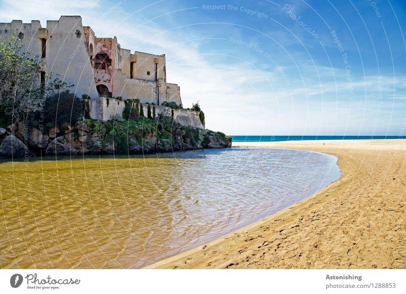 alte Burg Umwelt Natur Landschaft Wasser Himmel Horizont Sommer Wetter Schönes Wetter Baum Felsen Wellen Küste Meer Atlantik Marokko Afrika Haus