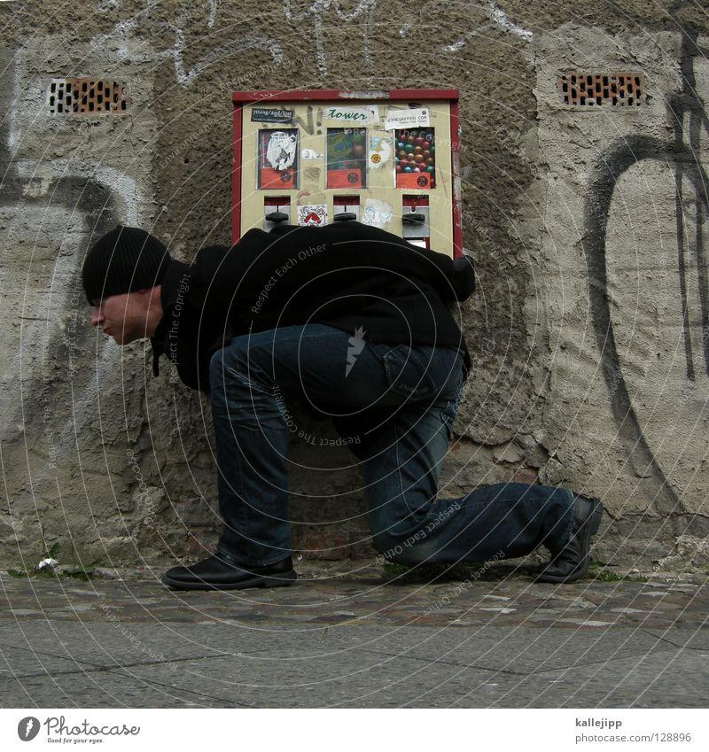 chewing gum to go Mensch Mann Stadt Haus Ernährung Wand süß Ecke USA Wunsch Amerika Umzug (Wohnungswechsel) Mütze Süßwaren Bürgersteig drehen
