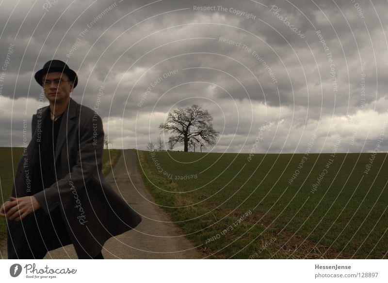 Person 31 Mann Baum Wolken Wege & Pfade Stimmung gehen Feld wandern laufen Vergänglichkeit Hoffnung Ziel Vertrauen Hut Mantel