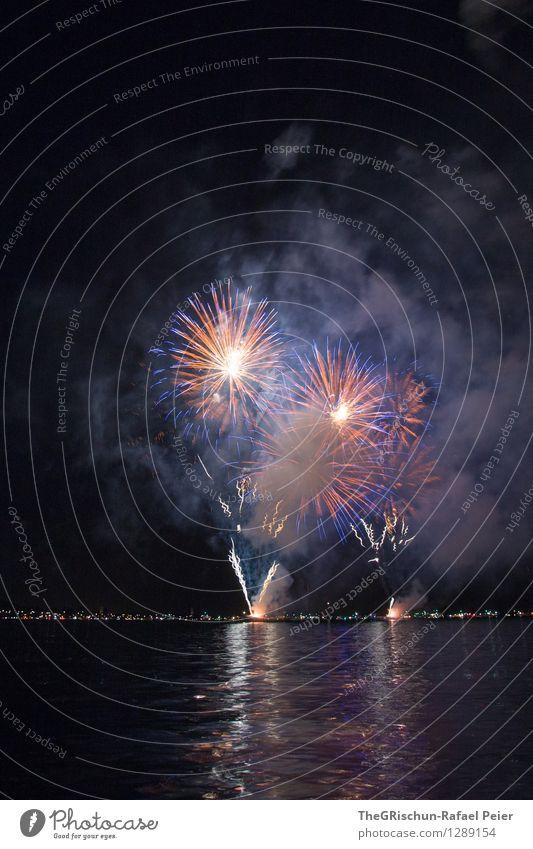 Feuerwerk 2 Kunstwerk Theaterschauspiel blau gold orange schwarz Stimmung Freude Begeisterung Euphorie Spektakel Reflexion & Spiegelung Seeufer Feste & Feiern