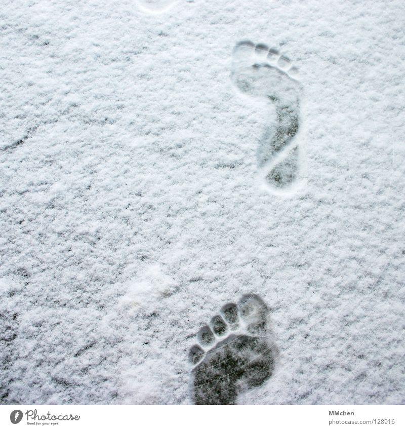 Vorwärts Fußspur Barfuß kalt frieren entkleiden vorwärts marschieren wandern verfolgen Winter weiß schießen Eindruck Fährte unterwegs Armut Zehen 5 10 15 20