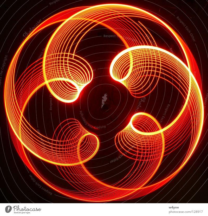[Order To Chaos] Serie II Langzeitbelichtung rot gelb Spirale abstrakt rund Wellen Muster schwarz Elektrisches Gerät Technik & Technologie Konzentration