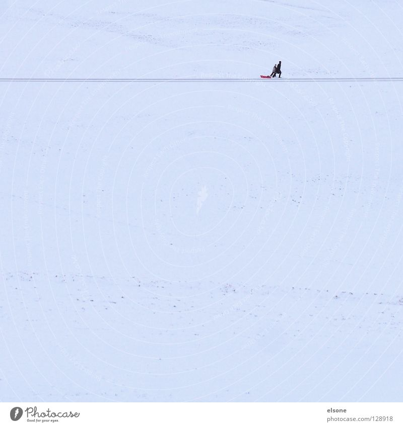 ::MISSION:: Mensch Einsamkeit Winter Berge u. Gebirge Schnee Linie Freizeit & Hobby Textfreiraum wandern laufen Fußweg Schneelandschaft horizontal Wintersport