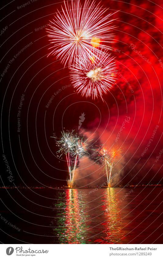 feuerwerk Wasser weiß rot schwarz gelb grau Feste & Feiern Kunst See rosa orange gold fantastisch genießen Feuer Rauch