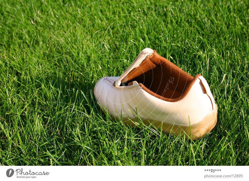 ...einfach ausgesetzt! Wiese Gras Schuhe gehen Suche Freizeit & Hobby finden verlieren Schuhsohle