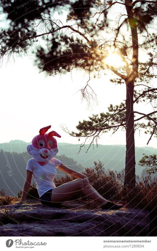 Hasenlichtung Baum Erotik Freude Beine Kunst Felsen liegen ästhetisch Körperhaltung T-Shirt Maske Model Hase & Kaninchen Kunstwerk Kostüm Karnevalskostüm