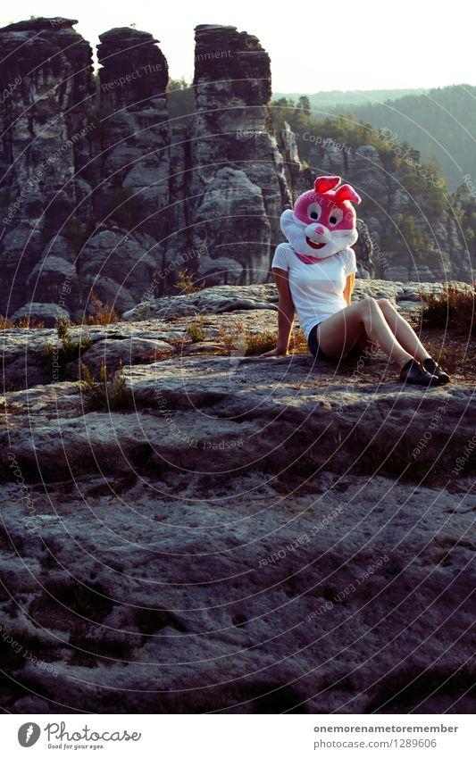 Ureinwohner Natur Einsamkeit Freude Ferne lustig Kunst Felsen sitzen ästhetisch Körperhaltung Gemälde Maske Hase & Kaninchen Kunstwerk Karnevalskostüm Wildnis