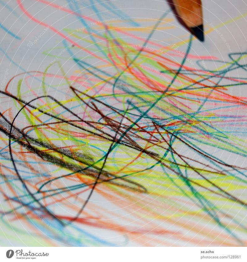 Naive Kunst III Gemälde Schreibstift Farbstift Papier mehrfarbig kindlich Farbe Fantasygeschichte Krickelkrakel einfach