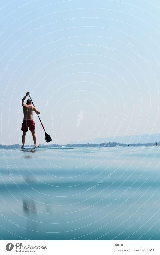Stand-Up-Paddling Mensch Ferien & Urlaub & Reisen Mann blau Sommer Wasser Erwachsene Bewegung Sport Schwimmen & Baden See Horizont maskulin Freizeit & Hobby Aktion Wellen