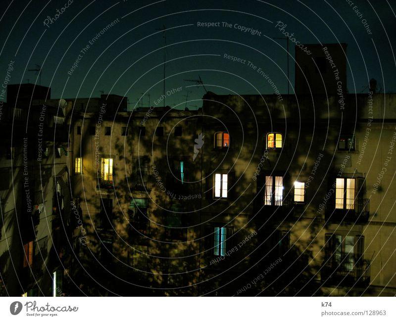 INNENHOF BEI NACHT Nachtschattengewächse Hinterhof Fenster Licht Wohnung Baum Dach Antenne Nachbar Balkon Wäsche Vorhang Haus Gebäude privat Romantik gemütlich