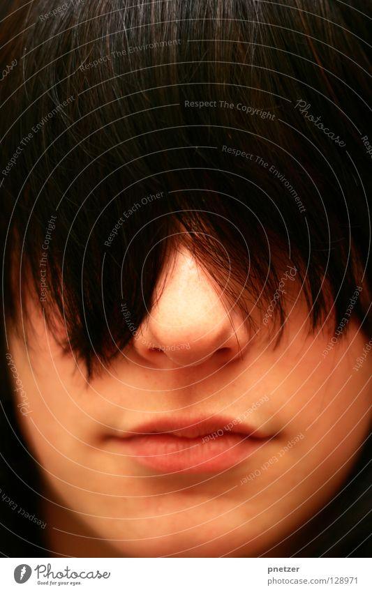 Schau mir in die Augen ... Frau verdeckt unsichtbar braun schwarz Haare & Frisuren schön Freude Gesicht unklar Nase Mund Kopf