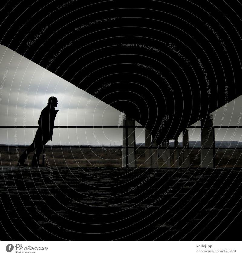 auf brücke Autobahn Mann Sturm Säule Bauwerk Beton Konstruktion kalt Gegenwind Aussicht Silhouette Infrastruktur Fußgänger Mensch Lifestyle Verkehrswege