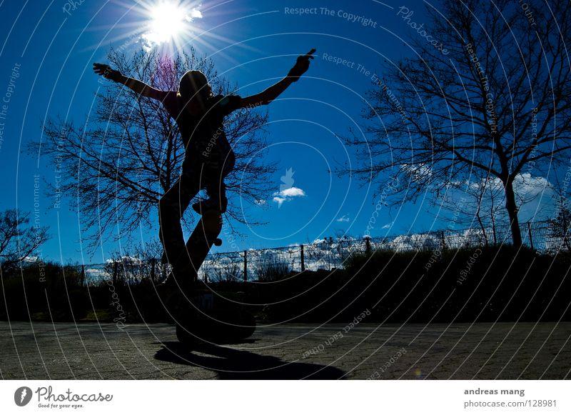 Ollie Himmel Baum Sonne blau Sport springen Stil fliegen hoch Aktion Skateboarding Strahlung Zaun Parkplatz parken Rolle