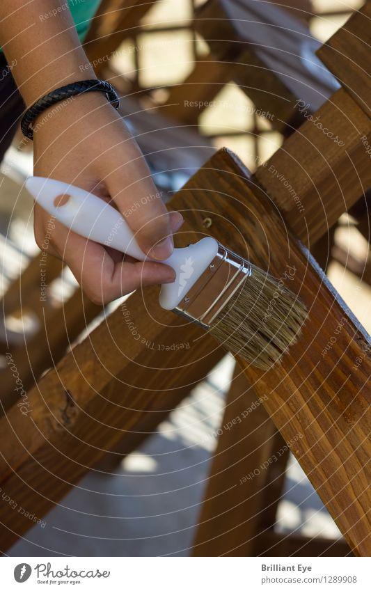 Holzschutz auftragen Mensch Hand Garten braun Arbeit & Erwerbstätigkeit maskulin Design Schutz Stuhl nah streichen Möbel Leidenschaft nachhaltig anstrengen
