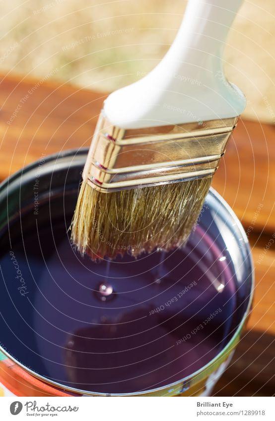 Lass abtropfen Sommer Garten Renovieren Möbel Handwerker Natur nachhaltig Vorsicht geduldig ruhig Senior Schutz Pinsel Farbtopf Wassertropfen tropfend Anstrich