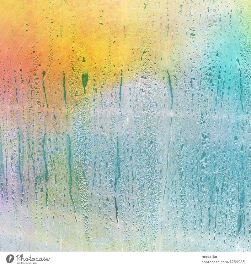 Regentropfen am Fenster Stil Design Valentinstag Wetter Schönes Wetter schlechtes Wetter Tropfen fantastisch Fröhlichkeit glänzend Glück positiv mehrfarbig Text