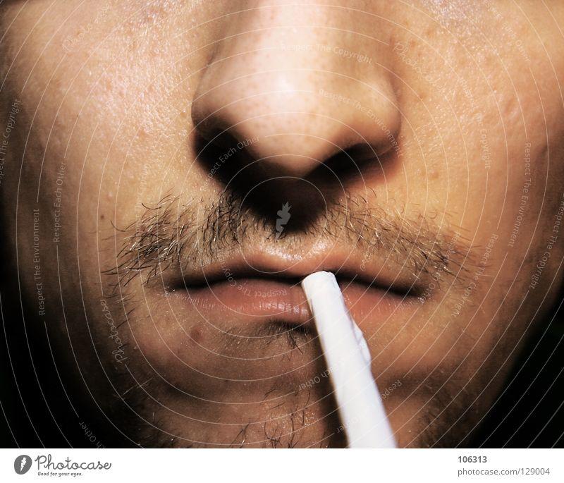 FEUER? Mann Erwachsene Tod Gesundheitswesen Rauchen Tabakwaren Stress Zigarette Anschnitt Sucht Wange ungesund Dreitagebart Barthaare Bartstoppel Tabak