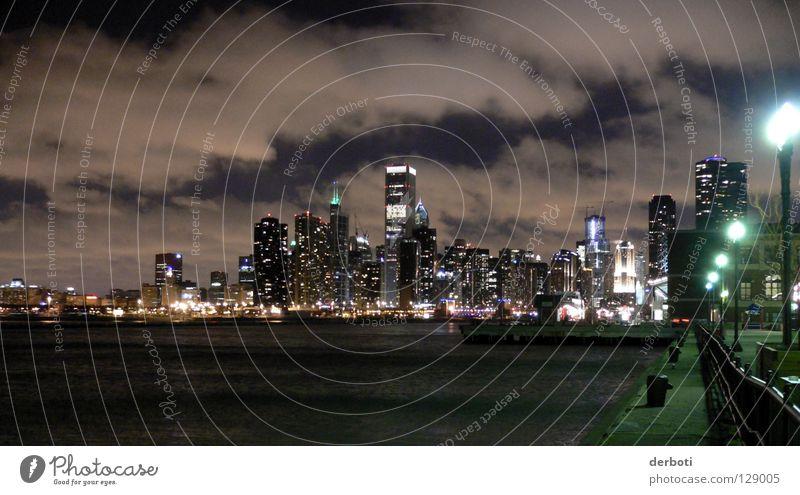 Cloudy Chicago Skyline Himmel Stadt Wolken See Hochhaus USA Hafen Straßenbeleuchtung