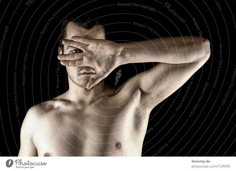 mit dem zweiten... Mann schwarz Gesicht Auge nackt Haare & Frisuren Arme Mund Haut Nase Finger Lippen Bart Palme Schulter Muskulatur