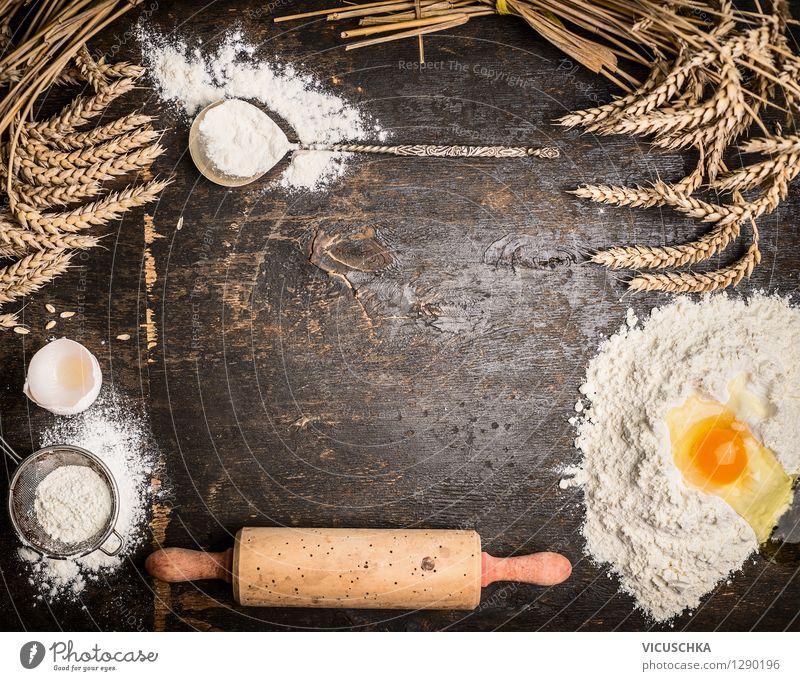 Hintergrund für Backen mit Geräte und Zutaten Lebensmittel Teigwaren Backwaren Brot Ernährung Bioprodukte Löffel Stil Design Haus Tisch Küche Feste & Feiern