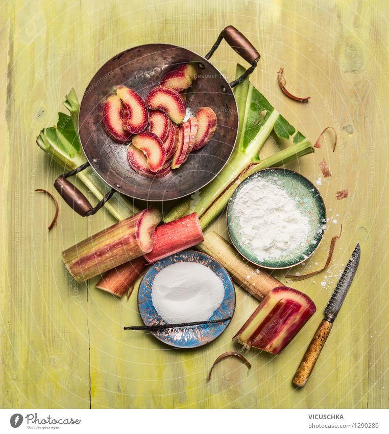 Rhabarberkompott machen Sommer gelb Stil Essen Foodfotografie Lebensmittel Design Frucht Ernährung Kochen & Garen & Backen Küche Bioprodukte Dessert Teller