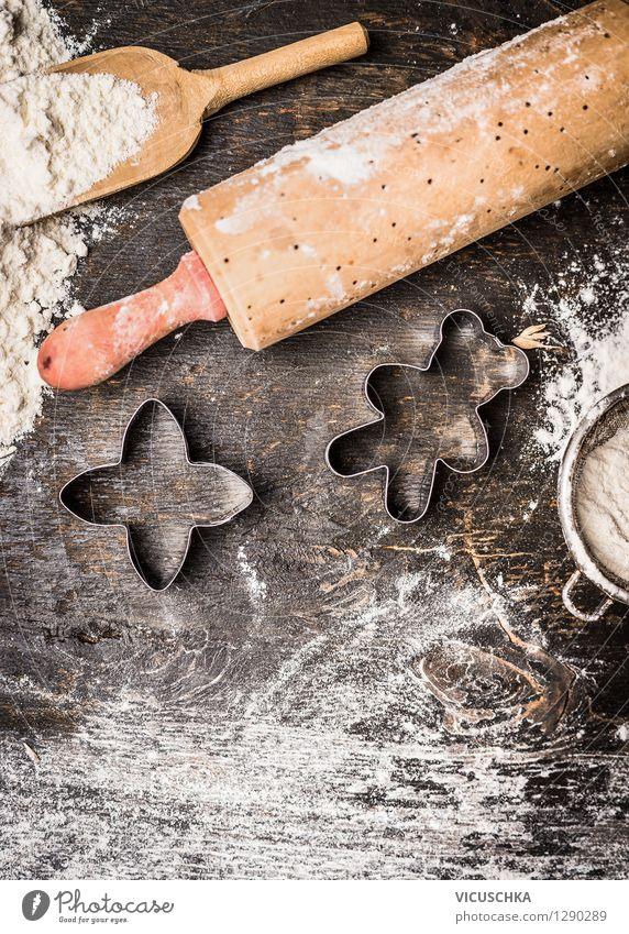 Weihnachtsplätzchen backen Weihnachten & Advent Hintergrundbild Feste & Feiern Design Ernährung Tisch Dinge Stern (Symbol) Küche Süßwaren Tradition Geschirr