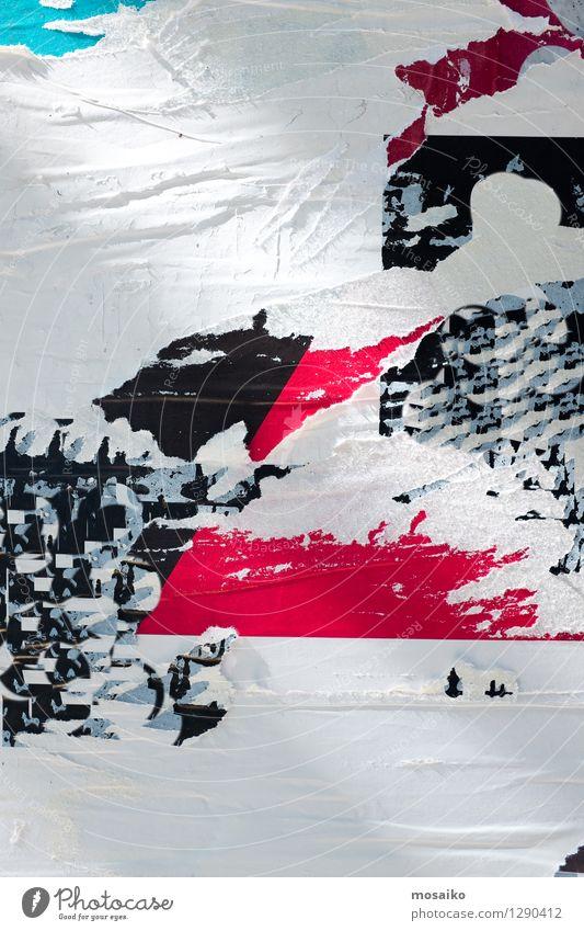 Abstrakter Grunge Hintergrund mit alten heftigen Plakaten Design Tapete Kunst Zeitung Zeitschrift Stadt Straße Papier Graffiti dreckig retro schwarz weiß Farbe