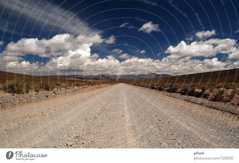 región salvaje Autobahn Wolken Schotterweg Wildnis Unendlichkeit ruhig Einsamkeit Staub Argentinien Sträucher fahren Rauschen wandern Physik schön braun