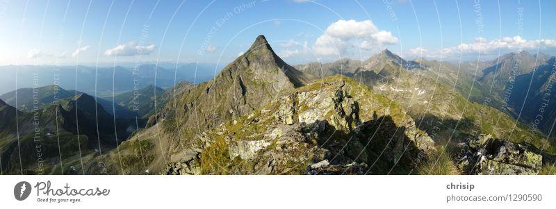 Berg Panorama Umwelt Natur Landschaft Himmel Wolken Horizont Schönes Wetter Felsen Alpen Berge u. Gebirge Gipfel Ferne gigantisch hoch natürlich Gefühle Freude