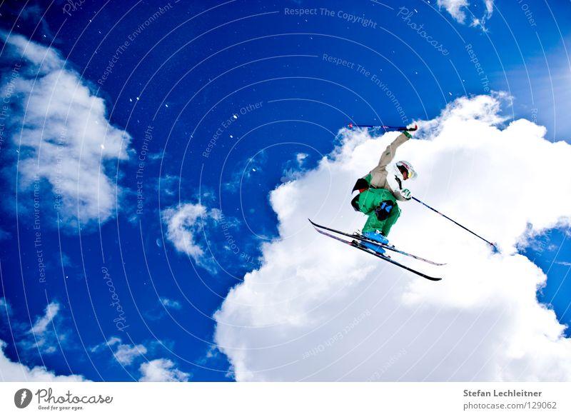 Flight Control IV schön Sonne Wolken Freude Winter Berge u. Gebirge Hintergrundbild Freiheit fliegen springen Freizeit & Hobby verrückt hoch groß Show Alpen