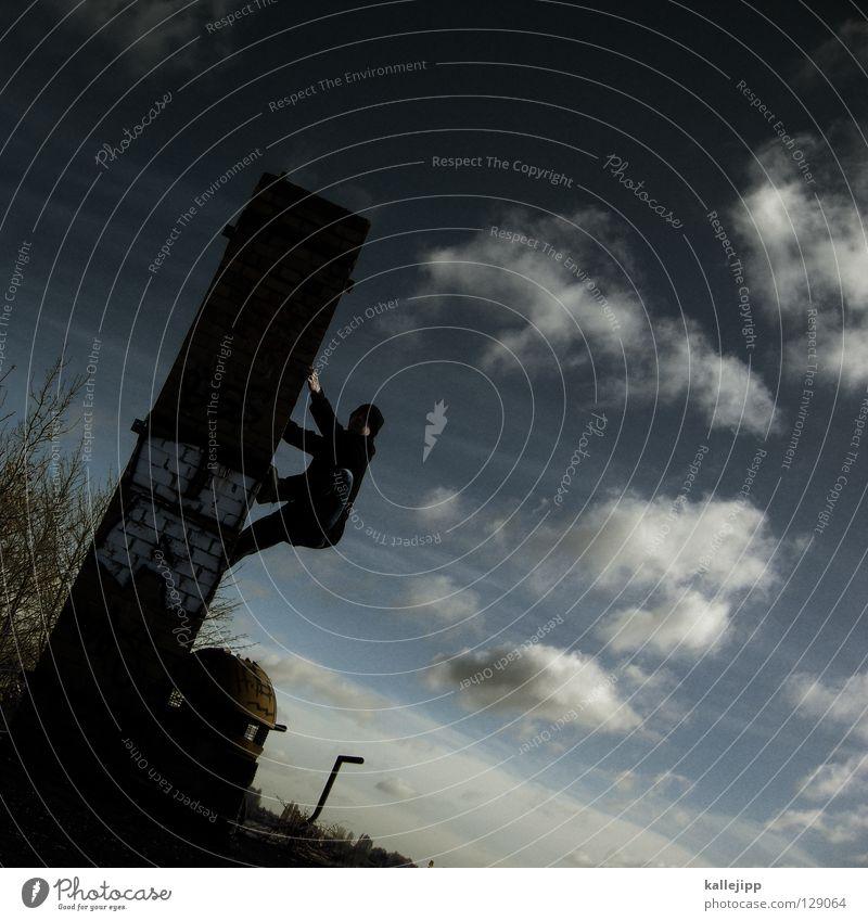 glücksbringer Mann Wolken Luft Dach Lampe steigen Karriere Dienstleistungsgewerbe Backstein Baum Bergsteiger Architektur Schornstein schonsteinfeger Glück luck