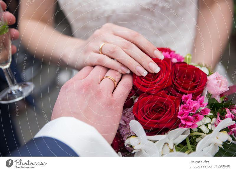 Wedding Mensch Jugendliche Junge Frau Blume Hand Junger Mann 18-30 Jahre Erwachsene Liebe Glück Feste & Feiern Mode Paar Glas Arme Finger
