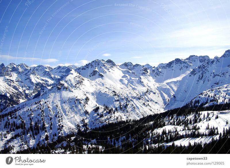 Winterlandschaft weiß Wald Gipfel Schnee Berge u. Gebirge Landschaft Himmel blau Sonne Tal