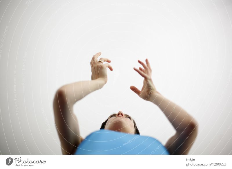 erklären Lifestyle sprechen Frau Erwachsene Leben Gesicht Arme Hand 1 Mensch 30-45 Jahre Kommunizieren hell blau weiß gestikulieren Vor hellem Hintergrund