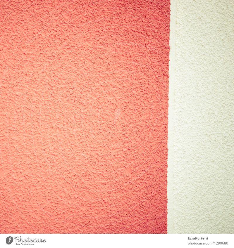 putzig elegant Stil Design Haus Bauwerk Gebäude Mauer Wand Fassade Beton Linie Streifen leuchten hell rot weiß Farbe Trennung Trennlinie Putz