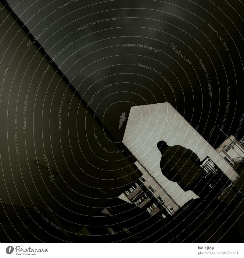 silhouette kaufte yogurette Mensch Mann Wolken Haus Architektur hell Aktion Tor Unwetter Krieg Gewitter Kette dramatisch Panik Hölle untergehen